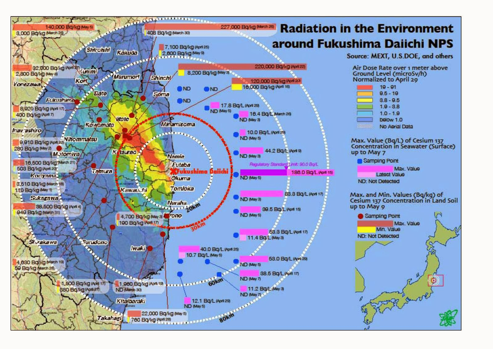 Catastrophic MarineLife Collapse Throughout North Pacific Birth - Japan radiation map 2015